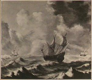 Hollandse fregatten in stormachtig weer