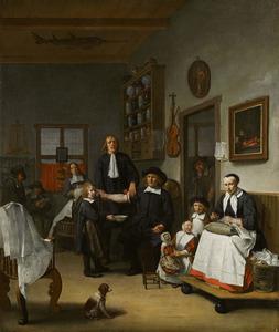 Portret van de familie van Jacob Fransz. Hercules (1635-1708) in zijn barbierswinkel