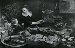 Viswinkel met verkoopster en kleine jongen