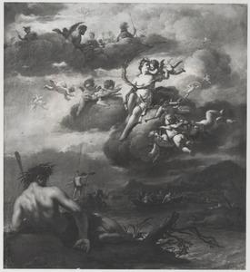 Venus en Cupido op wolken, boven hen een godenverzameling, zeegoden onder hen