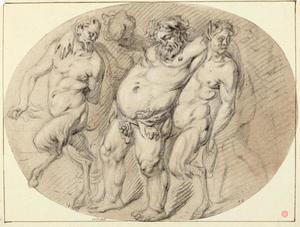 Dronken Silenus ondersteund door twee saters
