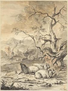 Liggende schapen in een landschap