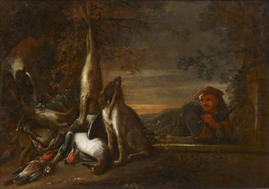 Jager kijkt naar jachtbuit van haas en gevogelte en twee honden