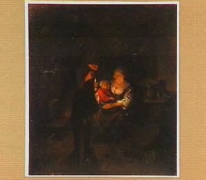 Boerengezin bij kaarslicht in een interieur
