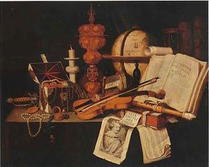 Vanitasstilleven met muziekinstrumenten, boeken en een pronkbeker