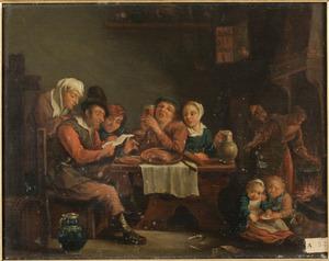 Interieur met figuren rond een tafel, op de voorgrond spelende kinderen