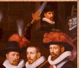 Officieren van het geel-oranje vendel van kapitein Cornelis van Kerchem, 1626