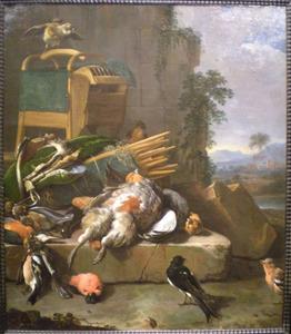 Jachtstilleven met geschoten en levende zangvogels alsmede jachtgerei