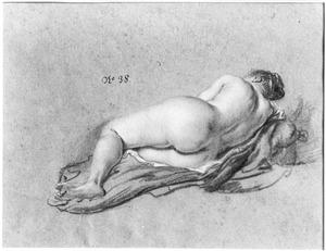 Liggende naakte vrouw, op de rug gezien