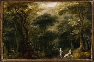 Boslandschap met de engel, die Hagar tracht  over te halen terug te gaan naar huis (Genesis 16:7-14)