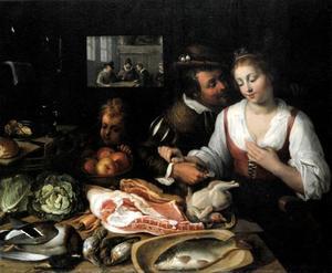 Man die een vrouw geld aanbiedt bij een tafel vol etenswaren