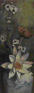 Stilleven met waterlelie, waterplompen en bloemen