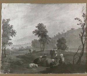Zuidelijk landschap met twee herderinnen en vee