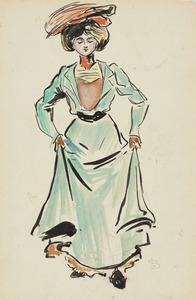Dame, groene jurk, rok optrekkend