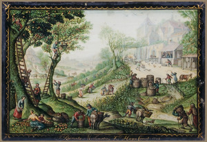 Heuvellandschap met boeren bij de appeloogst, rechts een kuiper