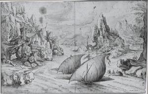Galeien op een rivier in een berglandschap