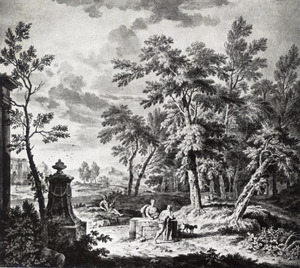 Arcadisch landschap met herders bij een monument