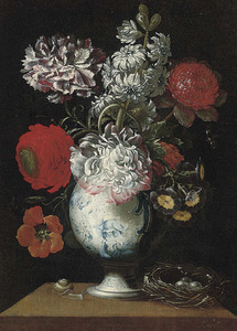 Bloemstilleven met rozen en chrysanten