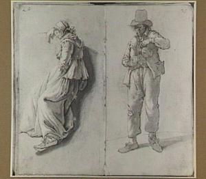 Liggende vrouw en staande schenkende man