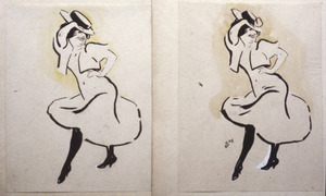 Staande vrouw met hoed - twee studies