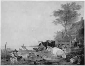 Landschap met rustend vee bij een boerderij