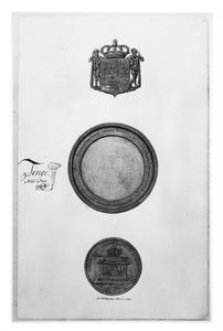 Onderzijde en details van een gouden bokaal, in 1702 aan Bertout van Slingelandt geschonken door koning Frederik III van Pruisen