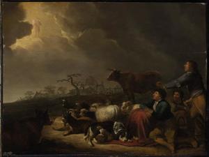 Landschap met de verkondiging aan de herders