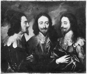 Portret van koning Karel I van Engeland (1600-1649) in drie standen
