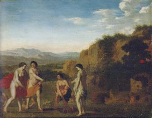 Arcadisch landschap met Mozes gevonden door de dochter van de farao  (Exodus 2:5)