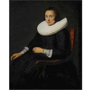 Portret van een vrouw met een grote plooikraag, zittend in een armstoel