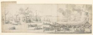 De inscheping van hertogin Maria van Modena te Gravesend
