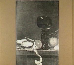 Stilleven met oesters, een roemer en zuidvruchten