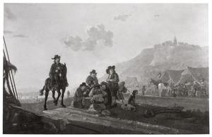 Landschap met kaartende soldaten bij een legerkamp