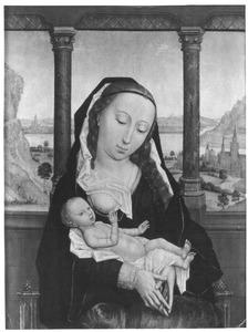 Maria met kind aan de borst in een loggia, met doorzicht op een landschap