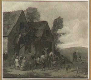 Landschap met figuren bij een herberg