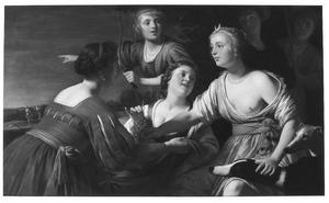 Diana en metgezellinnen rustend na de jacht