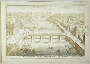 Gezicht op de brug van het Louvre die in 1688 gereed kwam