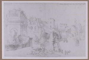 Rome, de boog van Constantijn en de zogenaamde 'Steen van Vergilius'
