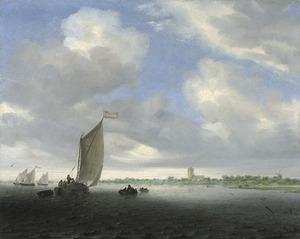 Rivierlandschap met een wijdschip en andere boten met in de achtergrond een kerk