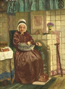 Oude vrouw bij de haard