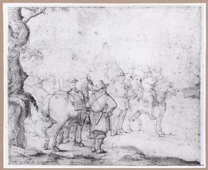 Een troep soldaten, rechts achter een rondeel