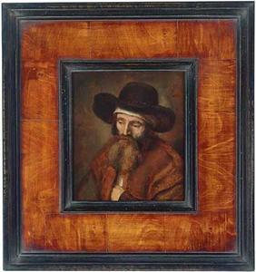Portret van een onbekende man met een witte band onder een breedgerande hoed