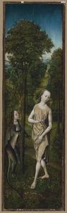 De verzoeking van Eva (op de buitenzijde: de H. Thomas van Aquino)