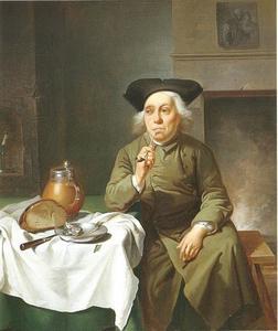 Interieur met een man aan tafel gezeten een pijp rokend