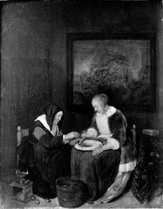 Een oude vrouw die een aderlating uitvoert bij een jongere vrouw