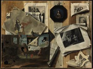 Trompe l'oeil met prenten en schilderijen