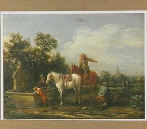 Ruiters en honden bij een drinkbak; op de achtergond een dorp