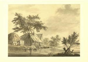 Landschap met boerderij aan een rivier