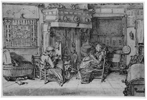 Interieur met gezin bij de haard