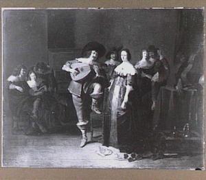 Musicerend gezelschap in interieur